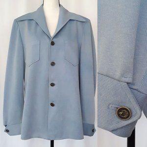 Vintage 70s Mens Light Blue Leisure Walking Jacket